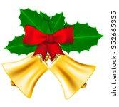 golden christmas bells with red ... | Shutterstock .eps vector #352665335
