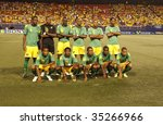 EAST RUTHERFORD NJ - AUGUST 12: Team Jamaica poses during the International Friendly match against Ecuador at Giants Stadium on August 12 2009 in East Rutherford NJ - stock photo