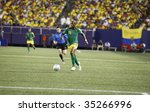 EAST RUTHERFORD NJ - AUGUST 12: Luton Shelton #11 of Jamaica handles the ball against Ecuador during the International Friendly match at Giants Stadium on August 12 2009 in East Rutherford NJ - stock photo