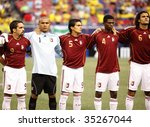 EAST RUTHERFORD NJ - AUGUST 12: Team Venezuela poses during the International Friendly match against Ecuador at Giants Stadium on August 12 2009 in East Rutherford NJ - stock photo
