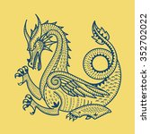 dragon. vector illustration.... | Shutterstock .eps vector #352702022