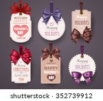 set retro labels with bows and... | Shutterstock .eps vector #352739912