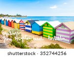 bathing boxes at brighton beach ... | Shutterstock . vector #352744256