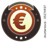 Euro currency icon on round red and brown imperial vector button with star accents suitable for use on website, in print and promotional materials, and for advertising. - stock vector