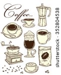 coffee shop. stylish clip art... | Shutterstock .eps vector #352804538