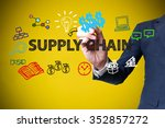 businessman hand drawing and... | Shutterstock . vector #352857272