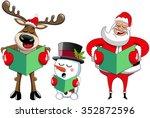 Cartoon Santa Claus Reindeer...