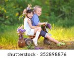portrait of a boy and girl  in... | Shutterstock . vector #352898876