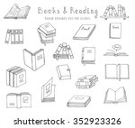 hand drawn doodle books and... | Shutterstock .eps vector #352923326
