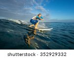 muscular surfer with long white ... | Shutterstock . vector #352929332