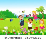 happy children playing with... | Shutterstock . vector #352943192