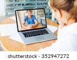 video call. woman and man... | Shutterstock . vector #352947272