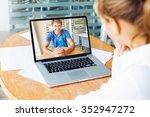 video call. woman and man... | Shutterstock . vector #352947272
