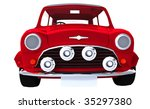 Classic Small Red Car On White