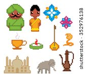 india culture symbols icons set.... | Shutterstock .eps vector #352976138