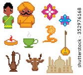 india culture symbols icons set.... | Shutterstock .eps vector #352976168
