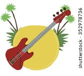 cartoon guitar flat icon. the...