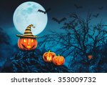 helloween pumpkins with candles ... | Shutterstock . vector #353009732