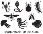 poisonous animal icons set | Shutterstock .eps vector #353016086