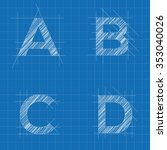architectural sketched letters | Shutterstock .eps vector #353040026