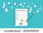 illustration of new year goals... | Shutterstock .eps vector #353049005