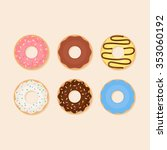 Donut Vector Set Isolated On A...