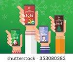 merry christmas smart phone set | Shutterstock .eps vector #353080382