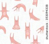 hand drawn cartoon rabbits... | Shutterstock .eps vector #353094338