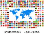 all flags and world map  ... | Shutterstock .eps vector #353101256