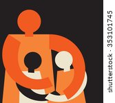 united family  mom embracing... | Shutterstock .eps vector #353101745