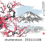 mountain fuji and spring... | Shutterstock .eps vector #353111108