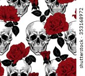 Stock vector skull and red roses vector seamless pattern 353168972
