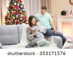 happy family on sofa in the... | Shutterstock . vector #353171576