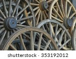 Old Rustic Wagon Wheels Stacked ...