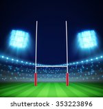 stadium with lights and rugby... | Shutterstock .eps vector #353223896