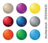 realistic balls   nine color... | Shutterstock .eps vector #353244632