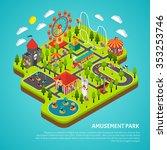 amusement park fairground with... | Shutterstock .eps vector #353253746