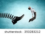 businessman kicked by his boss... | Shutterstock . vector #353283212