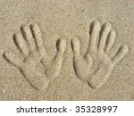 Left And Right Handprints On A...