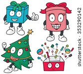 vector set of gift box and... | Shutterstock .eps vector #353290142