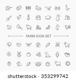 farm icon set  simple and thin... | Shutterstock .eps vector #353299742