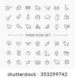 Stock vector farm icon set simple and thin line design 353299742