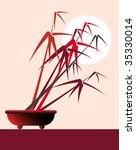 stylized bamboo bonsai against...   Shutterstock .eps vector #35330014