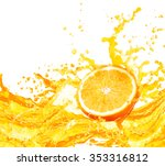 orange juice splashing with its ... | Shutterstock . vector #353316812
