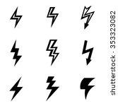 vector black lightning icon set. | Shutterstock .eps vector #353323082