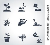 vector black plant growing icon ... | Shutterstock .eps vector #353323295