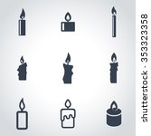 vector black candles icon set | Shutterstock .eps vector #353323358