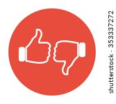 thumb up icon  flat design.    Shutterstock . vector #353337272