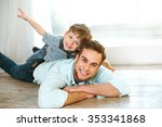 nice family photo of little boy ... | Shutterstock . vector #353341868