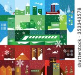 flat winter city landscape with ... | Shutterstock .eps vector #353343578